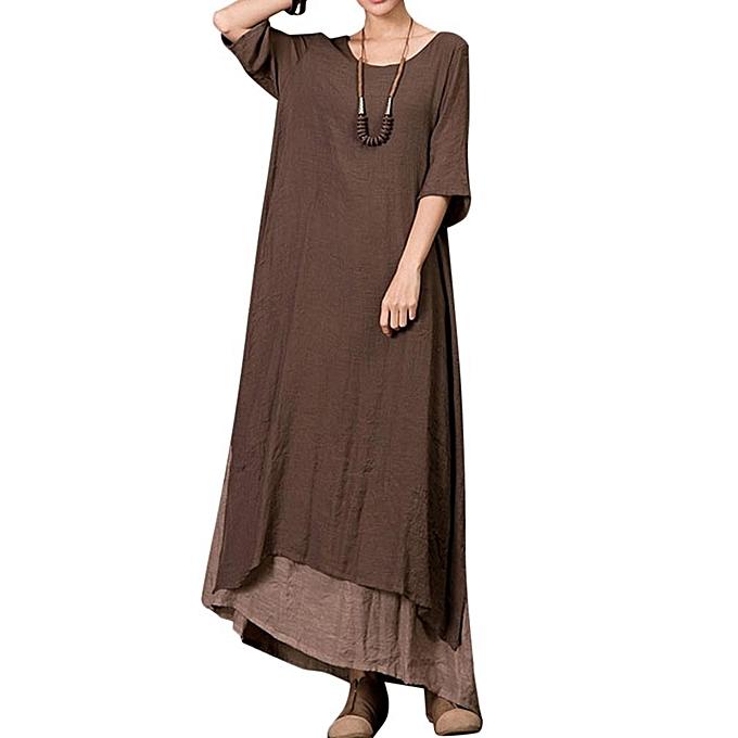 e4ef1f92993d Fashion Plus Size Vintage Women Cotton Loose Splicing Long Dress ...