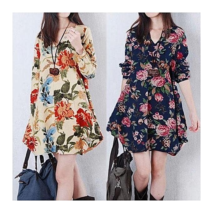 faa2b5964e ... ZANZEA Trendy Autumn Linen Dress Women Vintage Flower Dress V Neck Long  Sleeve Casual Cute Mini ...