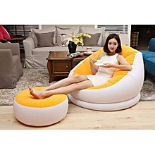 Inflatable seat plus Foot Rest - YELLOW  with a free pump