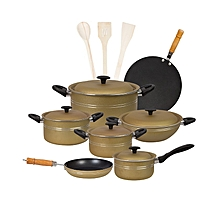Fine 15 pieces non-stick cooking set (Alluminum) Lid - Golden