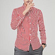 Stripe Long Sleeve Shirts For Men Formal Shirts (Red)