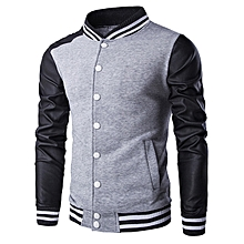PU-Leather and Stripe Rib Splicing Stand Collar Jacket - GRAY