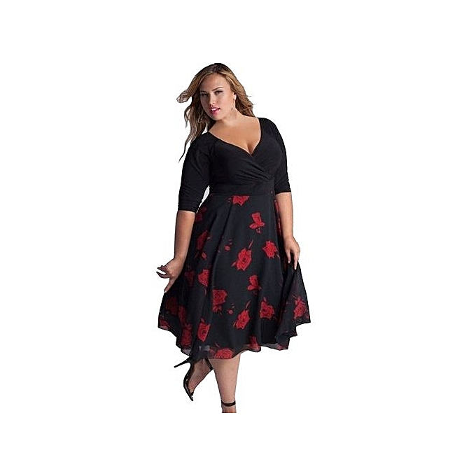 Eissely Women Plus Size Sexy V-Neck Floral Maxi Evening Party Boho ... 43ccf9f0ec09