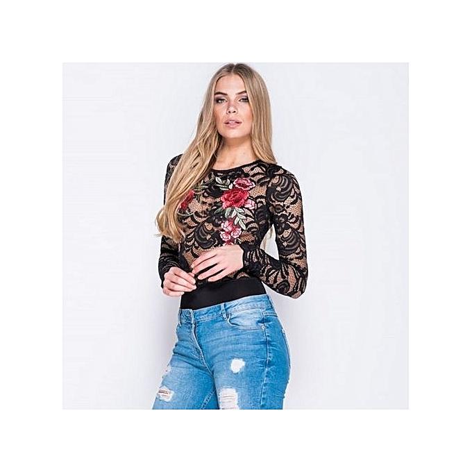 9887e5fd6934 ... bluerdream-Women Summer Sexy Embroidery Long Sleeve Rompers Jumpsuit  Leotard BK L-Black ...