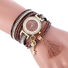Technologg Watch   Wrap Around Fashion Weave Leather Bracelet Lady Womans Wrist Watch -Brown