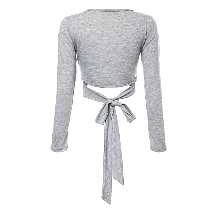 fd7fd655b3c54e ... Sexy Plunging Neck Long Sleeve Solid Color Bowknot Women Crop Top -  GRAY ...
