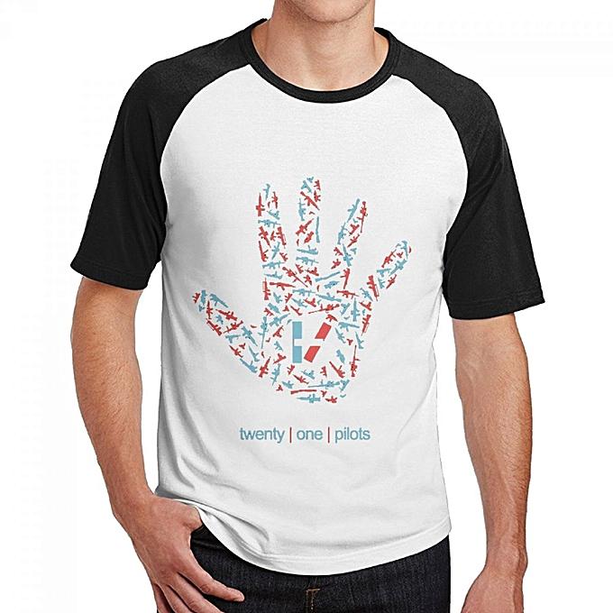Twenty One Pilots Men's Cotton Short Baseball Raglan Sleeves T-Shirt Black