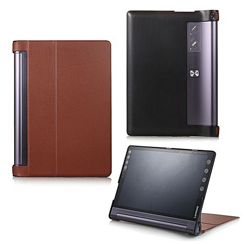 For Lenovo Yoga Tab 3 Pro 10.1 Case, Ultra Slim Hard Case + PU Leather Smart Cover Stand For Yoga Tab3 Plus YT-X703/YT3-X90, Brown