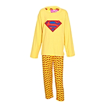 Yellow Boy's Pajamas With Superman Logo