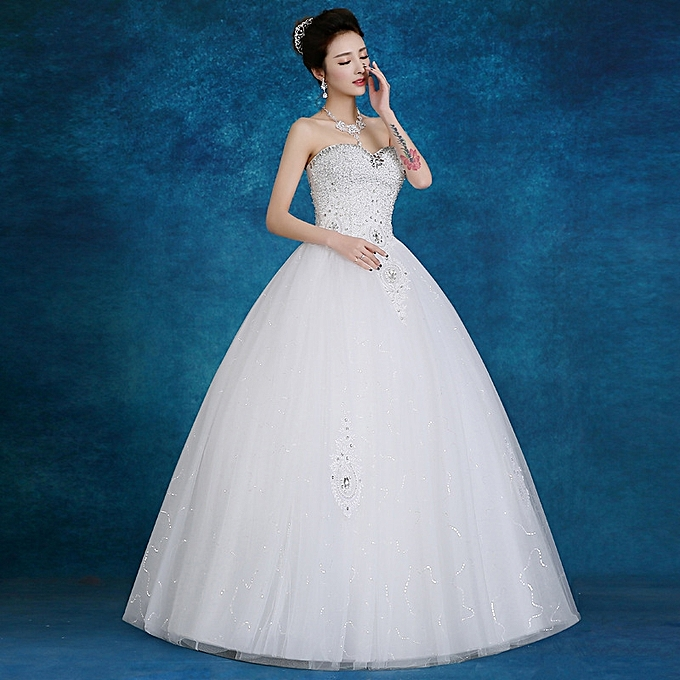 Light Wedding Dresses For Abroad: AFankara Women Classic Ball Gown Wedding Gowns-White