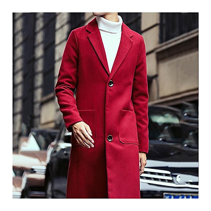 37b7f6dbb3 Autumn Winter Fashion Men s Warm Thick Long Windbreaker Casual Solid Color Slim  Woolen Jacket Coat