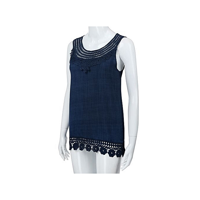 f2aa2c4ef95 ... Women O-Neck Sleeveless Pure Color Lace Plus Size Vest Tops Loose T- Shirt