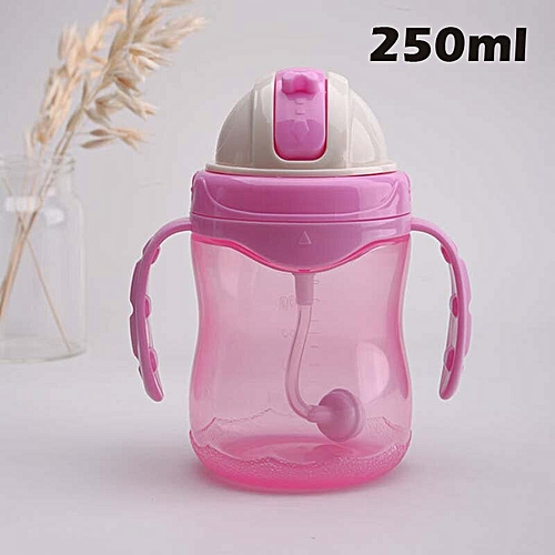 250ml Feeding Bottles Cups for Babies Cartoon Kids Water Milk Bottle Soft  mouth Sippy Baby Feeding Bottle Infant Training Bottle(240ml Pink Handle)