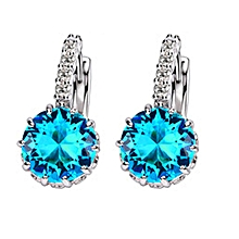 925 sterling silver earrings bright Austrian Crystal Blue Danube Earrings Elegant Fashion Female Ear Clasp
