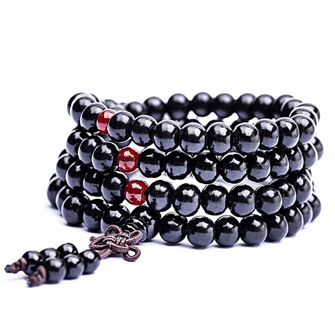 Drop Shipping Fashion Unisex Sandalwood Buddhist Buddha 6mm 108 Prayer Bead  Knot Bracelet Fine Jewelry Black