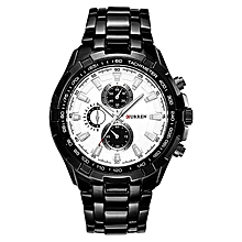 Switzerland brand CURREN 8023 black white  high hardness crystal mirror  quartz movement  water proof 30 meters resistant  stainless steel case  pointer display  3 sub dials only for decoration  1 year warranty