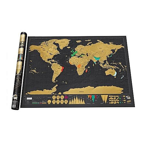 Creative deluxe edition erasable world map wall sticker for home creative deluxe edition erasable world map wall sticker for home decoration black gold gumiabroncs Choice Image