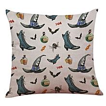 Happy Halloween Linen Throw Pillow Case Cushion Cover Home Sofa Decor New E