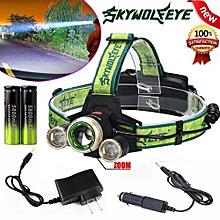 Camping & Hiking Flashlight ZOOM 15000Lm Headlamp CREE XM-L 3 X T6 LED Headlight 18650 Light Charger Battery