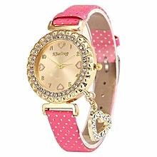 Women Love Heart Bracelet Leather Diamond Quartz Wrist Watch HOT
