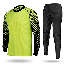 Men's Football Sports Goalkeeper Jersey Long Sleeves Shirts With Pants-Fluo Green(SY12)