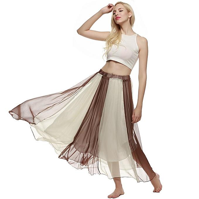 87bfd1c3a2 ACEVOG Bohemian Style Women Swing Flowing Maxi Full Chiffon Beach Skirt -Brown