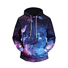 bluerdream-Men's Autumn Winter Printed Long Sleeve Hooded Sweatshirt Tops Blouse BU/L- Blue