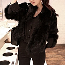 Coat Women Faux Fur Soft Fur Coat Jacket Fluffy Winter Waistcoat Outerwear -Black