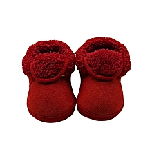 bluerdream-Toddler Newborn Baby Solid Soft Sole Boots Prewalker Warm Shoes- Red