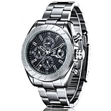 IK Colouring Men Sport Steel Bracelet & Case Automatic Watch With Carbon Fiber Pattern Dial(Black)