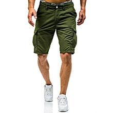 Summer Mens Big Size Loose Multi Pockets Leisure Shorts Mid Rise Cotton Calf Length Cargo Pants