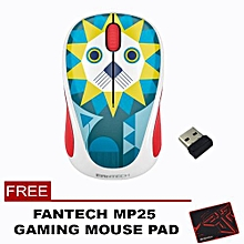 Fantech W235Z 2.4 Ghz Wireless Professional Office Mouse with Precision Scroll Button for Computer PC or Laptop (picture Lion) WWD