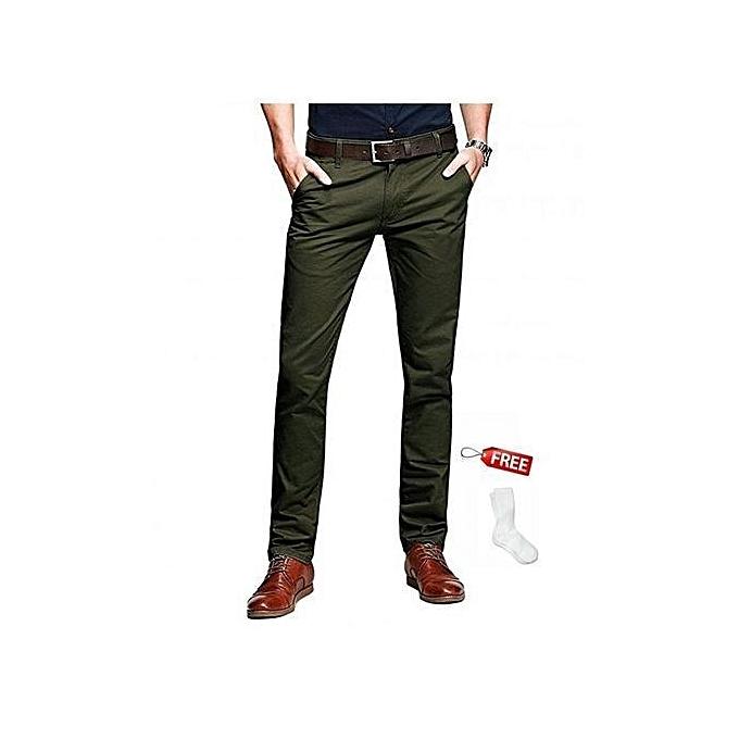 Soft Khaki Pants Mens Slim Fit Chinos Trouser Free Pair Of Socks
