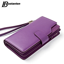 Bostanten Genuine Leather Women Wallets Luxury Brand 2017 Fashion Girls Purse Card Holder Long Clutch PURPLE