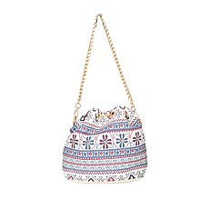 Beige Drawstring Shoulder Messenger Handbag With Chain