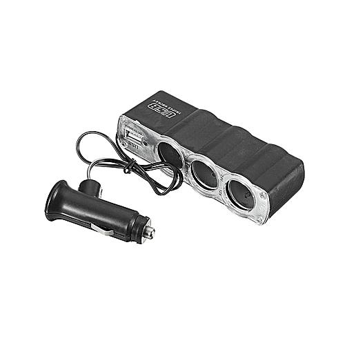 Car Cigarette Lighter Multi Socket Splitter 3 Way Charger Adapter 12V+USB Port