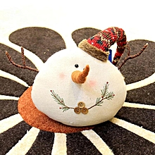 Burlap Christmas figurine snowman doll # Knitted hat S