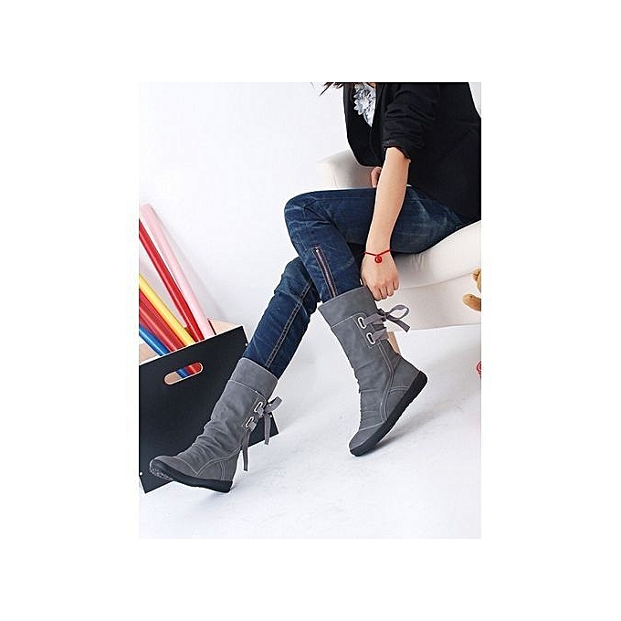 Ladies Womens Low Wedge Buckle Biker Ankle Trim Flat Ankle Boots Shoes- Gray  -CN ... 897d9817685