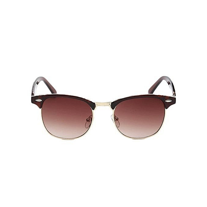 6cbad78e6b Hequeen Classic Meter Stare Half Frame Sunglasses For Men And Women Coffee