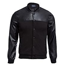 Men's Patchwork Bomber Jacket - Black