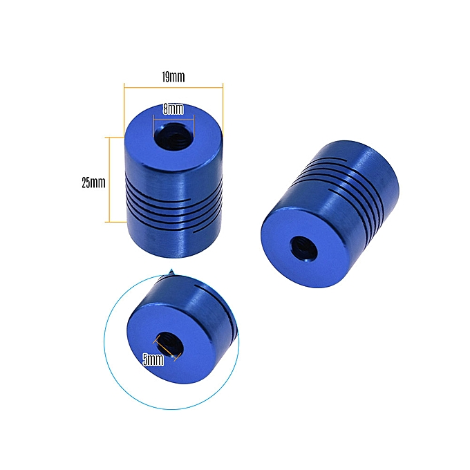 Aibecy Flexible Coupling Shaft Coupler 5*8mm Inner Diameter 19*25mm Outer  Diameter CNC Motor Jaw Shaft Couplers 3D Printer Accessory Pack of 2PCS