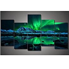 Wall Painting Green Blue Modern Aurora Borealis Art Picture Canvas Print