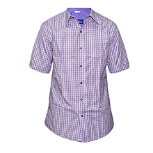 Purple and White checked Slim fit Collier Shirt
