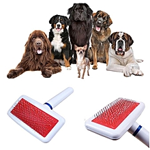 Pet Dog Cat Shedding Grooming Anti-Static Hair Fur Brush Needle Comb Rake Tool -White