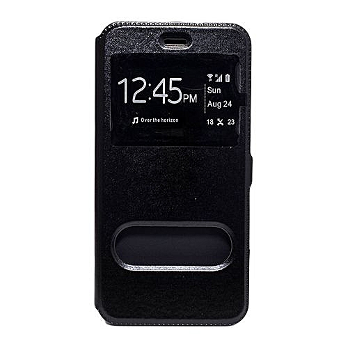 sports shoes a5ec2 5bad8 Galaxy A5 A500 Double Window Leather Flip Cover - Black