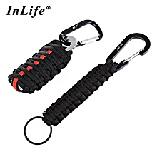 Outdoor Practical Paracord Survival Grenade Shape Kit Carabiner Fishing Tools With Snap Hook Key Chain - Red + Black