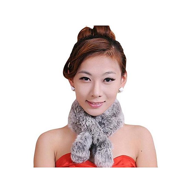 6da9613db60 Hiaojbk Store Women Winter Scarf Lady Casual Fur Scarves Fur Ball Velvet  Scarf Grey-Grey