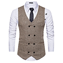 V Neck Double Breasted Belt Design Waistcoat - KHAKI