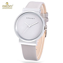 Women Concise Leather Band Daily Water Resistance Wristwatch - Silver And Grey
