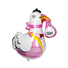 Crane Shaped Baby Girl Air/Helium foil Balloon for Baby Shower